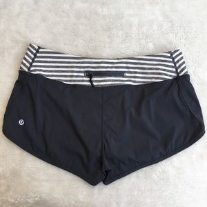 Lululemon Gray and White Striped Shorts Size 8